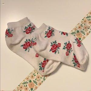 white socks w/ rose print